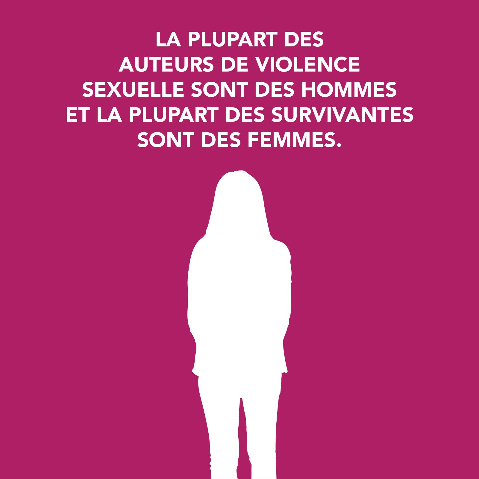 LA PLUPART DES AUTEURS DE VIOLENCE SEXUELLE SONT DES HOMMES  ET LA PLUPART DES SURVIVANTES  SONT DES FEMMES.