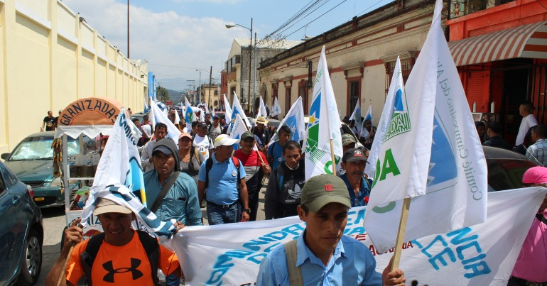 Workers rally in Guatemala - Cover for 2019-2020 International Solidarity Report