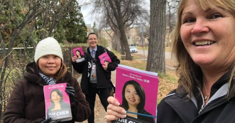 CUPE members out campaigning for progressive candidates in municipal election.