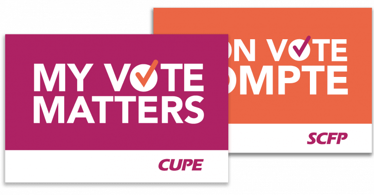 """White text that says """"My vote matters"""" on pink background."""