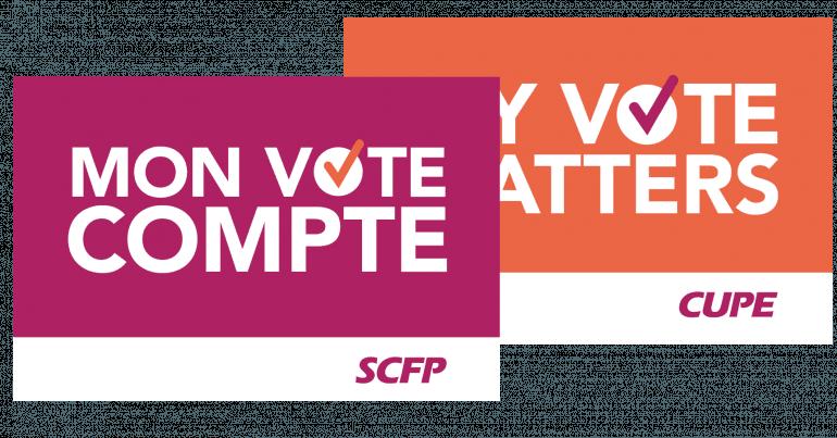 Texte blanc sur fond rose qui dit «mon vote compte»