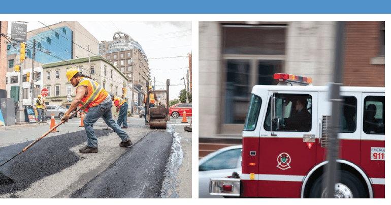 Back in house report cover with six photos of municipal services