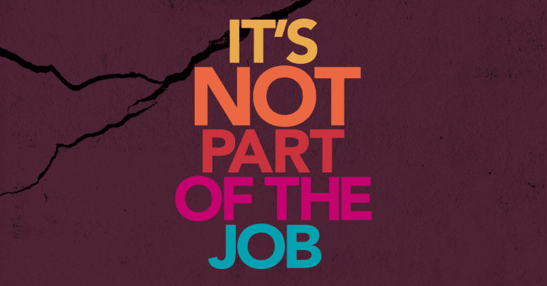 Text: It's not part of the job Graphic: dark purple background with black crack