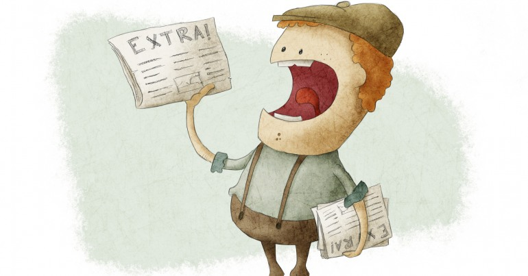 Illustration of a newsboy holding a newspaper that says Extra!