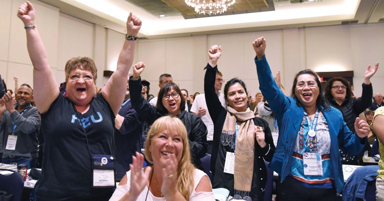 BC health care workers celebrate better working conditions under an NDP government