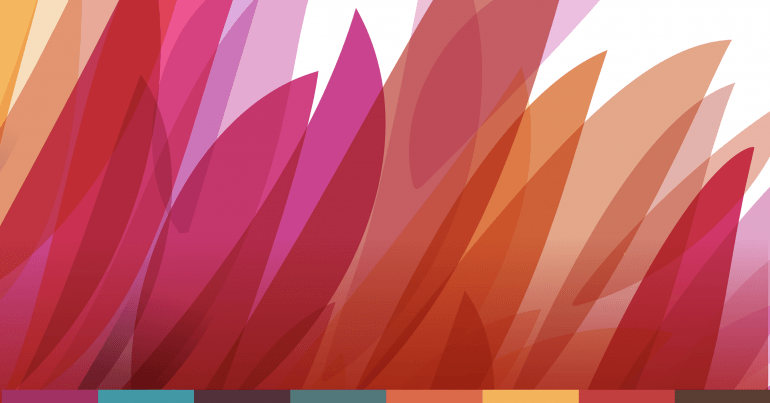 Illustration of orange, red and pink transparent feathery shapes