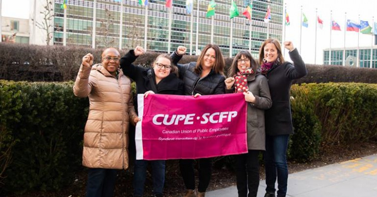 CUPE delegation members outside UN HQ (L-R): Veriline Howe, CUPE 2191 Vice-President; Stacey Connor CUPE 2073 President; Candace Rennick, CUPE Regional Vice-President for Ontario; Annick Desjardins, Executive Assistant to CUPE's national president; Kelti