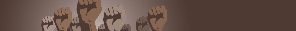 Illustration of brown-skinned fists raised on a brown background