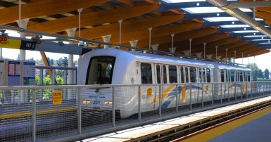 Skytrain stopped at a station