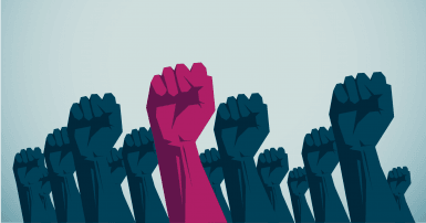 illustration of raised blue fists with one deep pink fist in the middle