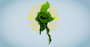 Map of Burma/Myanmar with a clenched fist
