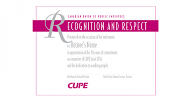 Certificate with Recognition and respect in white on a dark pink background
