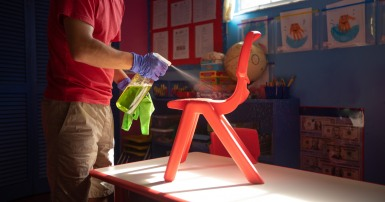 cleaning a classroom