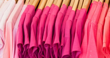 Pink shirts hanging up