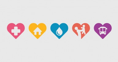 Series of colourful hearts, each with a white icon depicting a public service
