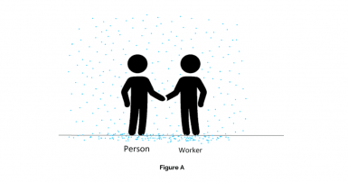 Figure A – a worker is meeting with a person, nothing said yet