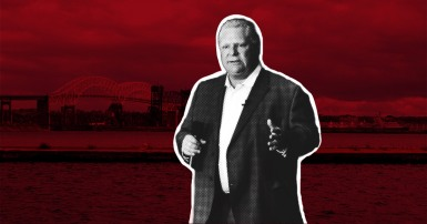Premier Doug Ford on a dark red background with a bridge in the background