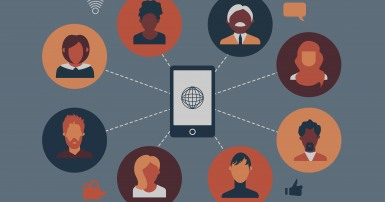 Illustration of a group of diverse businesspeople participating in a video call. A smartphone is at the centre of the circle of people.