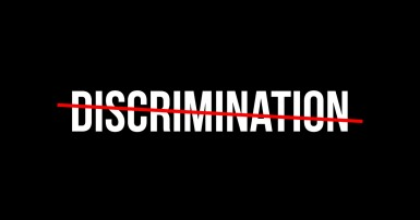 The word discrimination with a red line through it