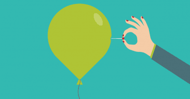 Turquoise background, bright green balloon, hand with red nail polish holding a pin with a red head pushing into the side of the balloon