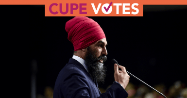 NDP Leader addressing crowd