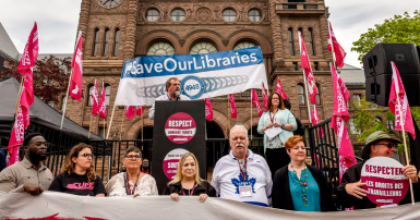 CUPE National President Mark Hancock addresses rally at Queen's Park