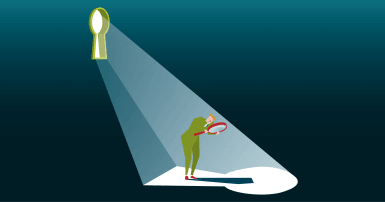Minimalist illustration of a man in a suit looking through a magnifying glass at a keyhole