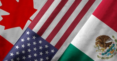 The flags of Canada, the USA and Mexico