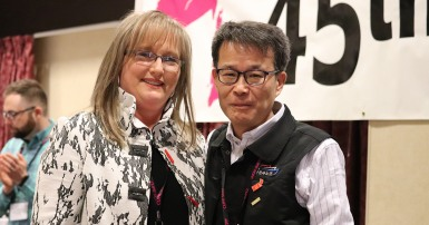Kyung Kyu Yang from the Korean Federation of Public Services and Transportation Workers and Sherry Hillier at the 2019 CUPE NL division convention