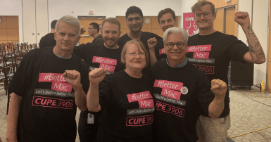 Supporters of CUPE 3906-01 in #bettermac shirts
