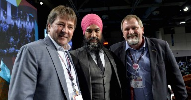 Jagmeet Singh, Mark Hancock and Charles Fleury
