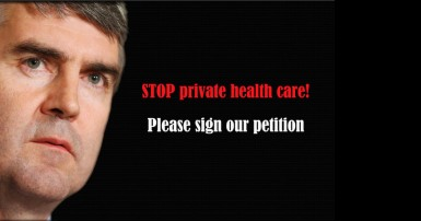 Premier Stephen McNeil and text saying Stop private health care, please sign our petition!