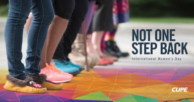 "group of women's legs from the knee down with the slogan ""not one step back"""