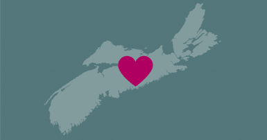 Map of Nova Scotia with a heart super-imposed