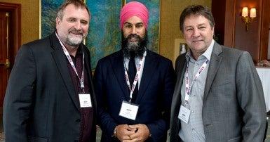Charles Fleury, Jagmeet Singh and Mark Hancock