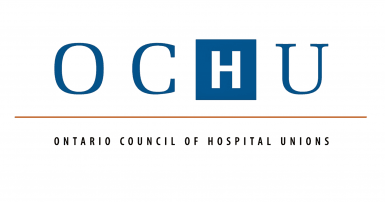 OCHU in block letters, H is in a blue square, Ontario Council of Hospital Unions