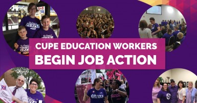 CUPE Education workers in job action