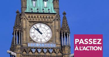 """Horloge du Parlement avec le texte suivant """"passez  à l'action"""""""