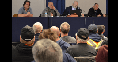 Assemblée générale syndicale des cols bleus de Mont-Royal le 23 janvier 2018. Photo SCFP 301