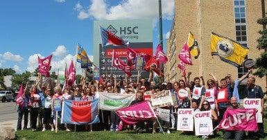 CUPE Manitoba protesting health care cuts