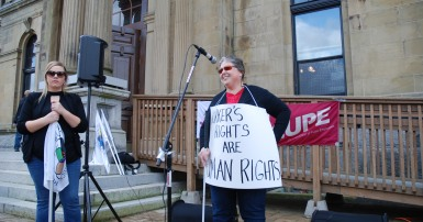 CUPE NB protest for injured workers