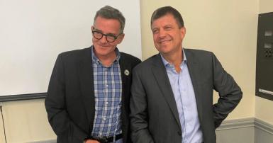Michel Murray, porte-parole du SCFP 375, et Martin Tessier, président de l'AEM