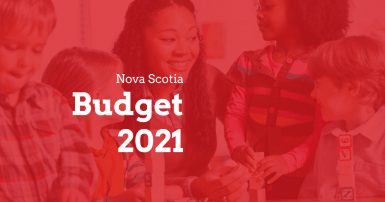Web banner. Text: Provincial Budget 2021. Image: early childhood educator and four children