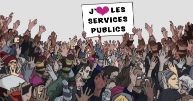 Illustration d'une foule de personnes avec une pancarte qui lit « Journée des Nations Unies pour la fonction publique »