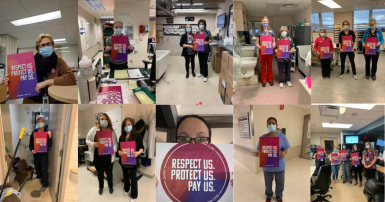 In Ottawa and across the province hospital and long-term care health care staff represented by CUPE took part in an International Women's Day workplace action that calls on the Ontario government to respect, protect, and increase pay for health care worke