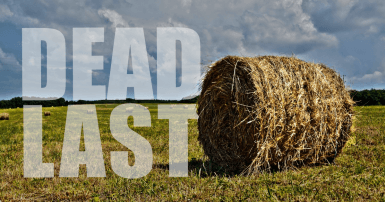 "Hay bale with the words ""dead last"" in the landscape"