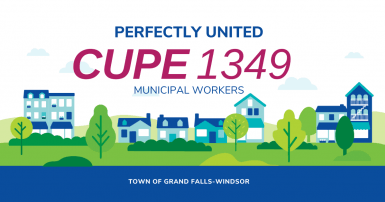 Web banner. Text: Perfectly United: CUPE 1349. Town of Grand Falls-Windsor.