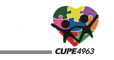 CUPE 4963 logo. Two stick figure people, over a multi-colour hear that looks like a jigsaw puzzle
