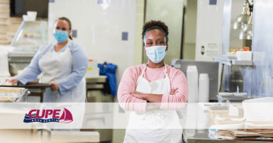 Web banner. Photo: 2 cafeteria workers. Image: CUPE NS logo