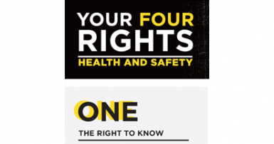 White and yellow stacked text on black background: Your four rights, health and safety. One, the right to know
